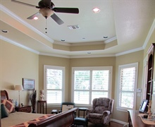 Elevated ceiling with moulding