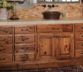 Raised square panel knotty-pine doors