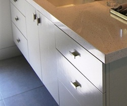 Euro-style cabinets, slab doors