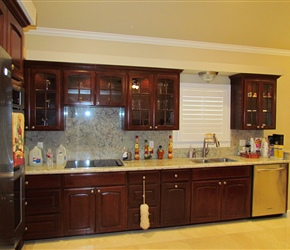 Custom stained cabinets.